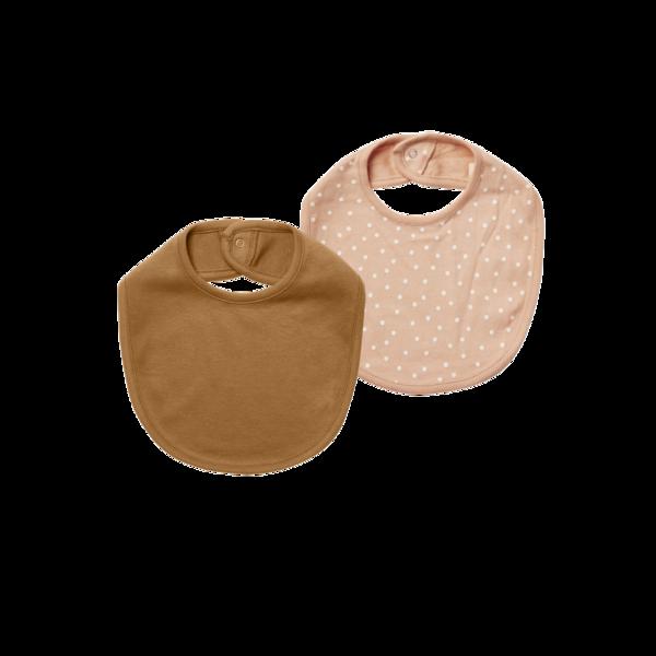 Quincy Mae Snap Bib - Petal/Walnut