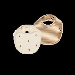 Quincy Mae Snap Bib - Natural/Walnut Stripe
