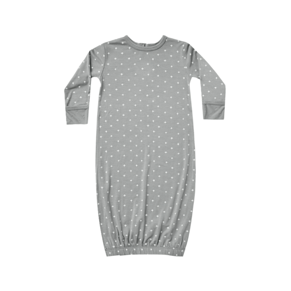 Quincy Mae Bamboo Baby Gown - Dusty Blue