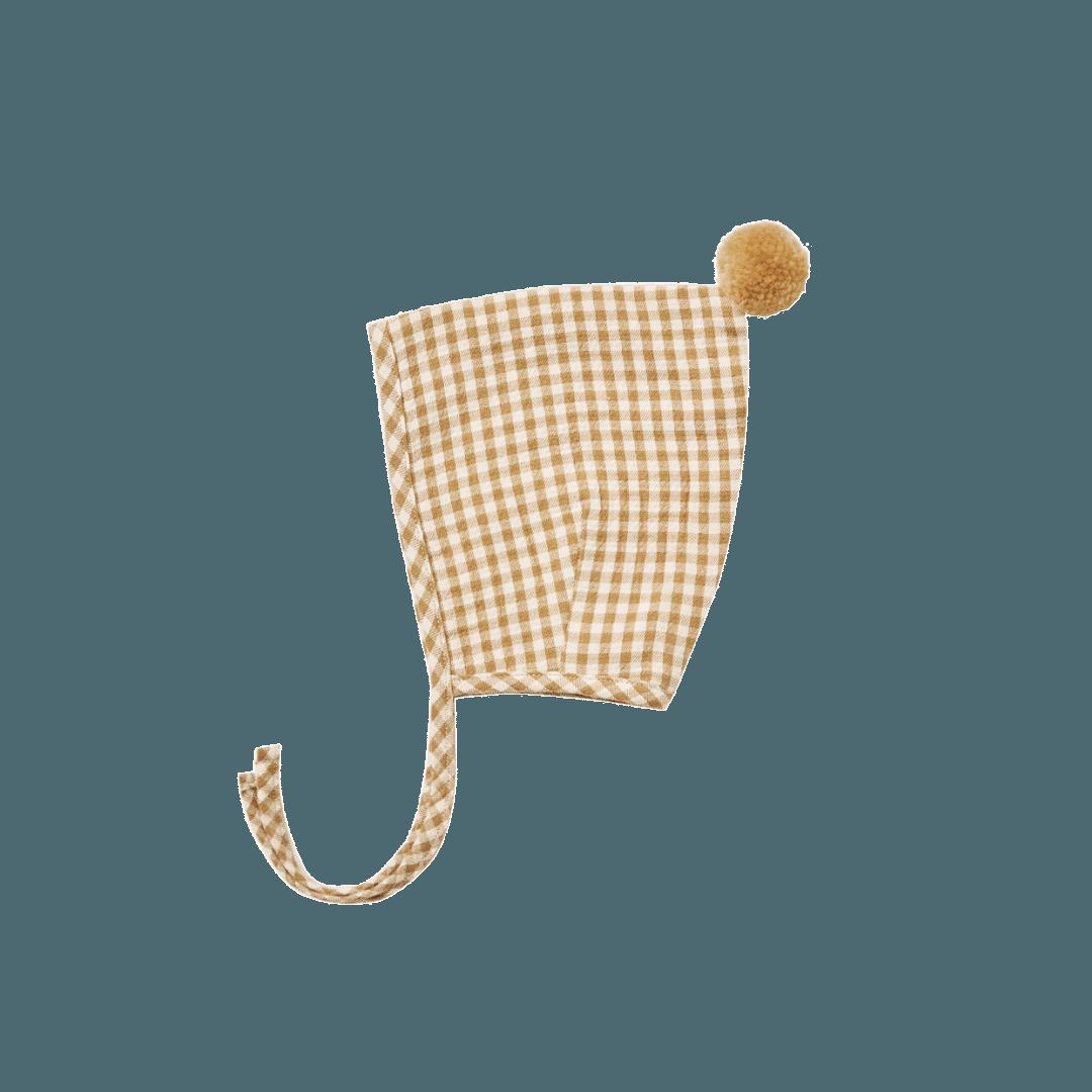 Quincy Mae Pom Pom Pixie Bonnet - Honey Gingham