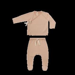 Quincy Mae Kimono Top & Footed Pant Set - Petal