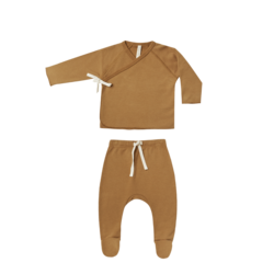 Quincy Mae Kimono Top & Footed Pant Set - Walnut