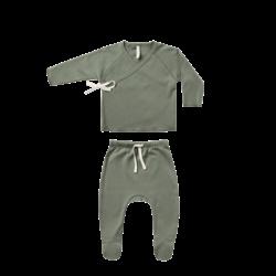 Quincy Mae Kimono Top & Footed Pant Set - Basil