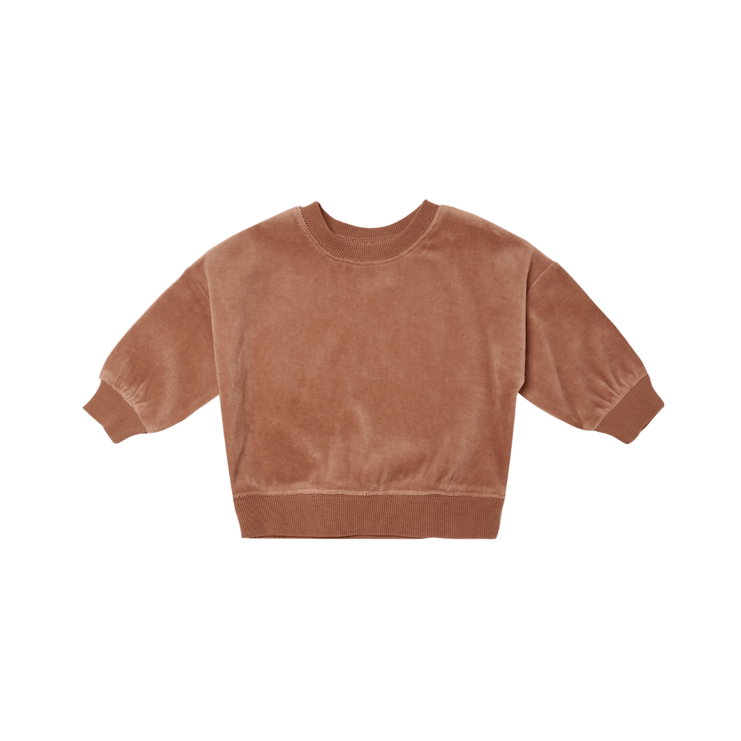 Quincy Mae Drop Shoulder Velour Sweatshirt - Clay