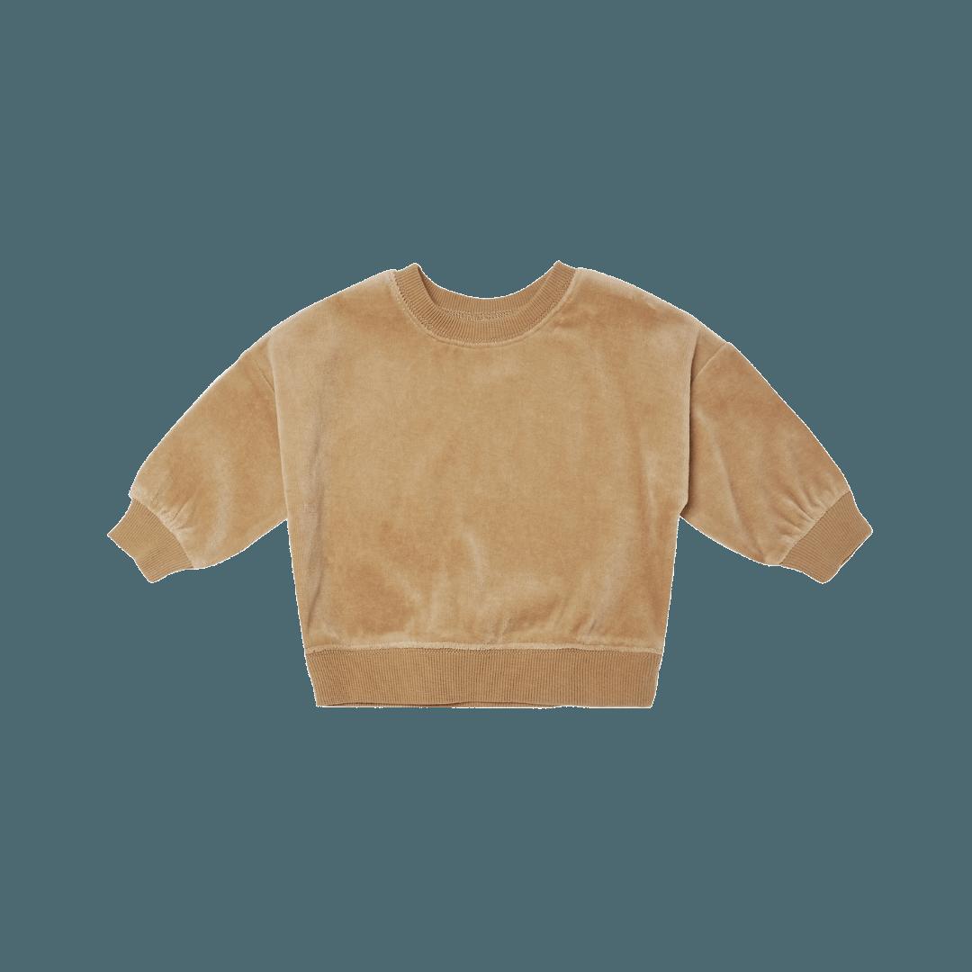 Quincy Mae Drop Shoulder Velour Sweatshirt - Honey