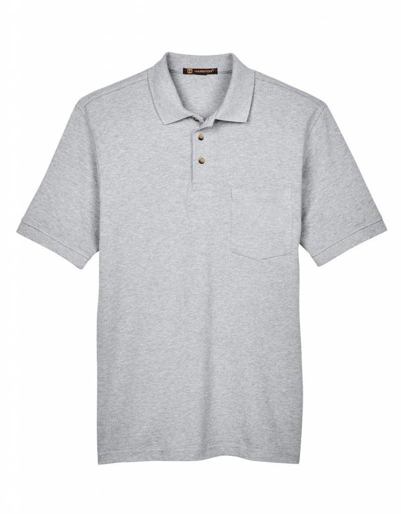 Harriton Harriton Mens Ringspun Piqué Pocket Polo