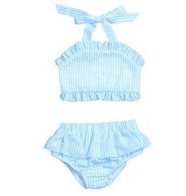 WAM Blanks Girls Seersucker Two Piece Ruffle Swimsuit