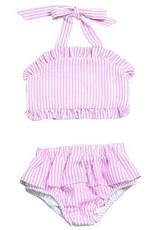 WAM Blanks Girls Seersucker Two Piece Ruffle Swimsuit