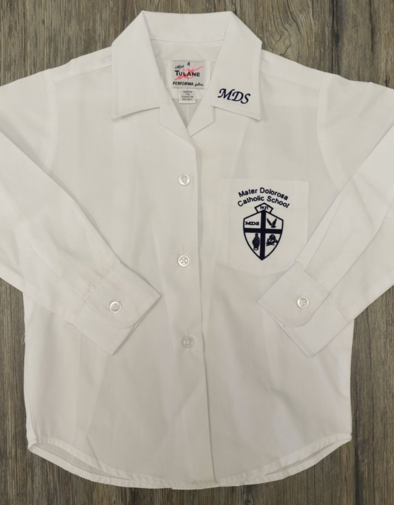 Tulane Shirts, Inc. L/S Girls Catholic/Blank Broadcloth