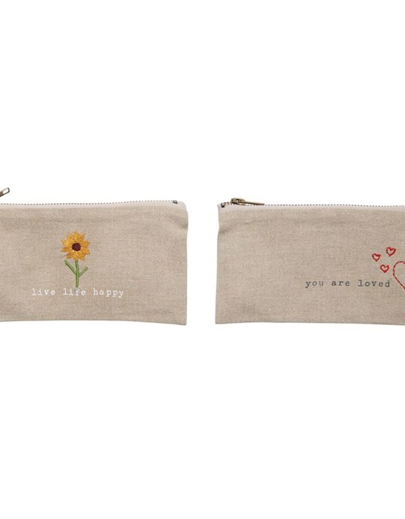 Mud-Pie Positive Embroidered Pouch