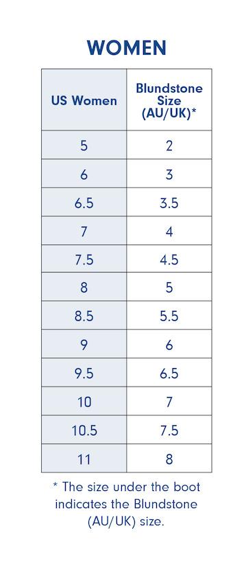 US/AU Women Size Chart
