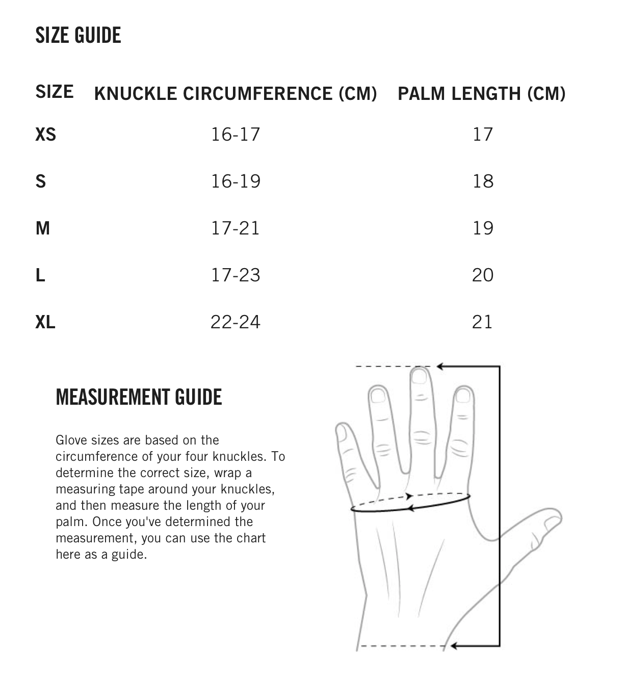 POC MTB Glove Size Guide
