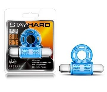 Blush Novelties Stay Hard - 10 Function Vibrating Bull Ring - Blue