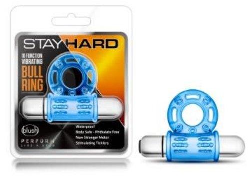 Blush Novelties Stay Hard - 10 Function Vibrating Bull Ring - Blue
