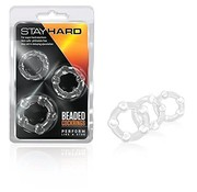 Blush Novelties STAY HARD BEADED C-RINGS CLEAR