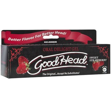 Doc Johnson GoodHead Oral Delight Gel - 4 oz Tube - Sweet Strawberry