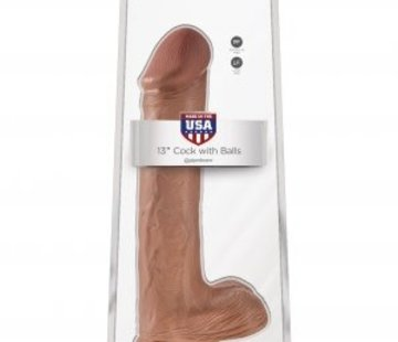 "Pipedream King Cock  13"" Cock with Balls-Tan"