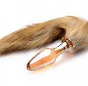 XR Brands Fox Tail Glass Anal Plug