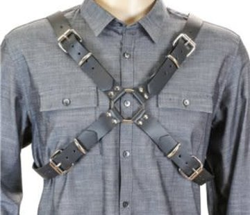 Funk Plus Men's Leather X Harness Black