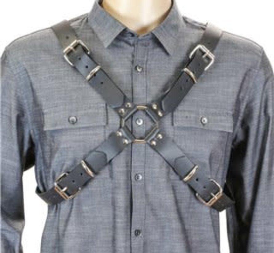 Men's Leather X Harness Black