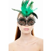 Black Mask w/ Green Feathers and Rhinestones