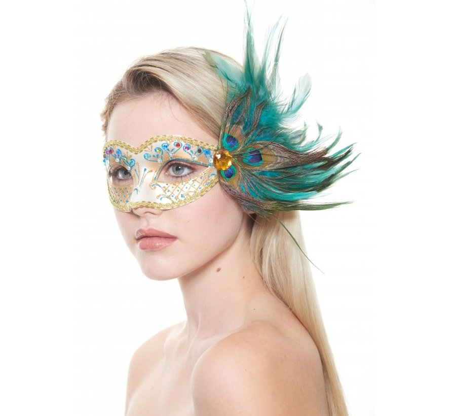 Gold Masquerade Mask w/Peacock Feather
