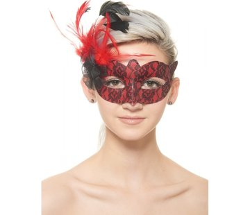 Red Mask w/Black Lace and Feathers