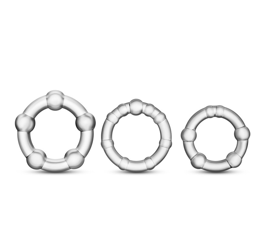 STAY HARD BEADED C-RINGS CLEAR