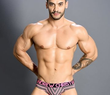 Andrew Christian Physical Brief w/ Almost Naked Neon Pink/ Grey