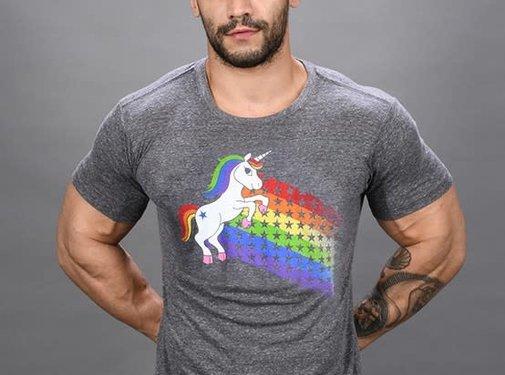 Andrew Christian Unicorn Pride Rainbow Tee