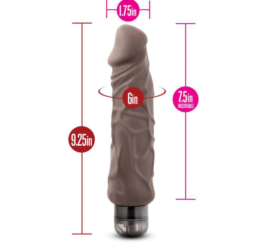 "X5 Plus - Hard On Vibrating 9"" Dildo - Brown"