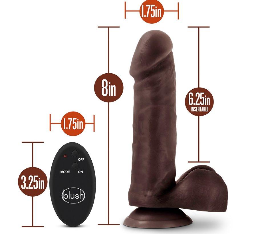 "Dr. Skin 8"" Remote Dildo Chocolate"