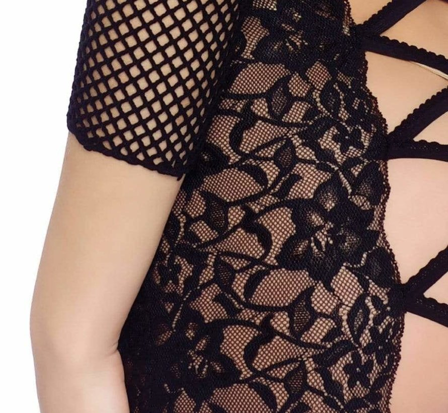 3pc Fishnet and Lace Top & Skirt set