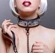 XR Brands Platinum Bound Chained Collar with Leash