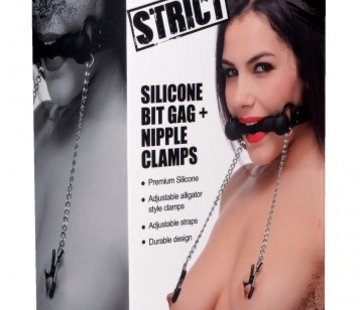 XR Brands Silicone Bit Gag with Nipple Clamps