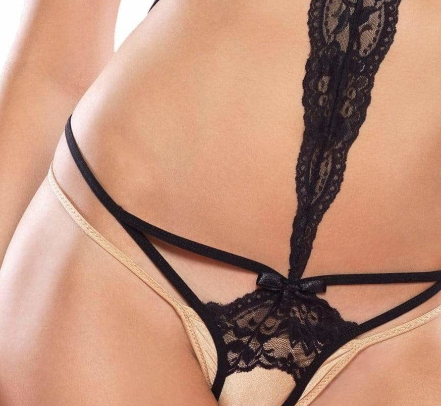 2PC CAGE CROTCHLESS TEDDY