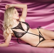 Coquette Crotchless Teddy w/Side Ties Black OS