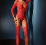 Coquette Long Sleeve Teddy w/Garters Stockings OS Red