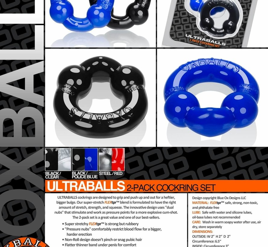 Ultraballs 2-Pack Cockring Clr/Blk