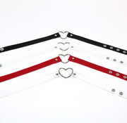 Adjustable Soft Leather Heart Collar