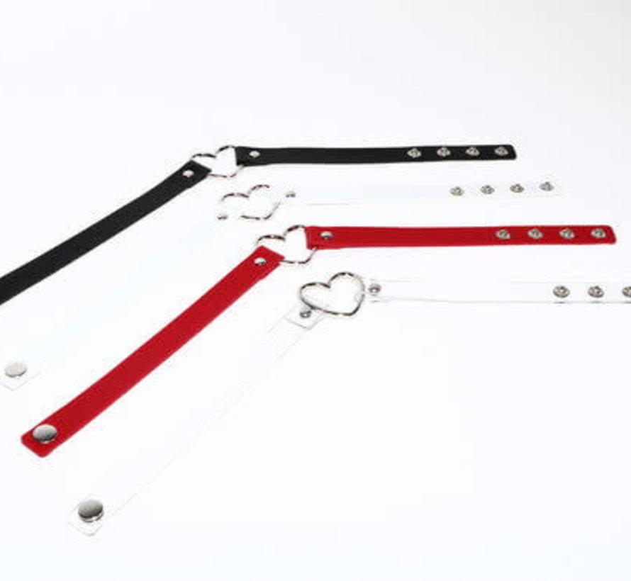 Adjustable Soft Leather Heart Collar