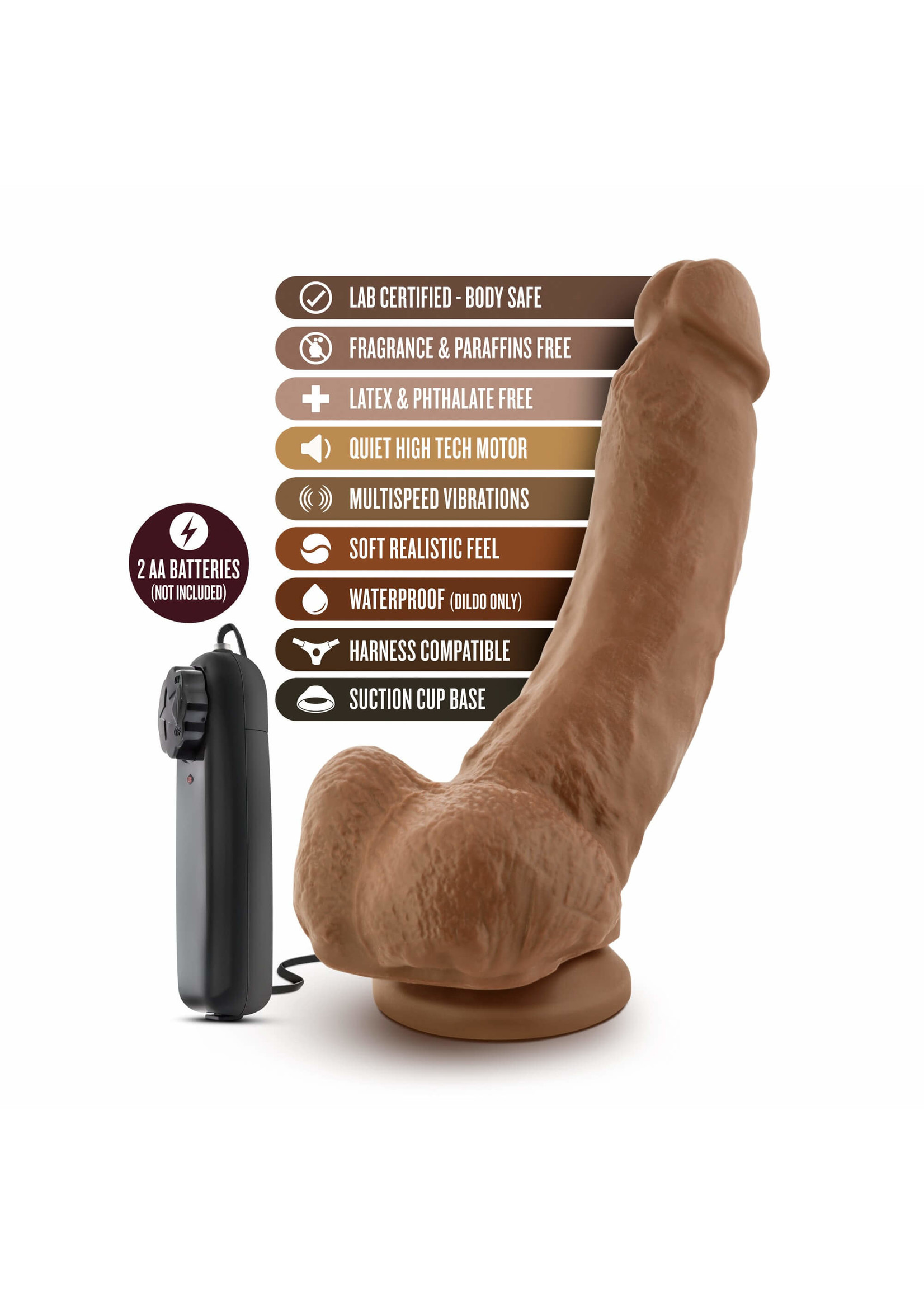 """Loverboy The Boxer 9"""" Vibrating Realistic Cock Mocha"""