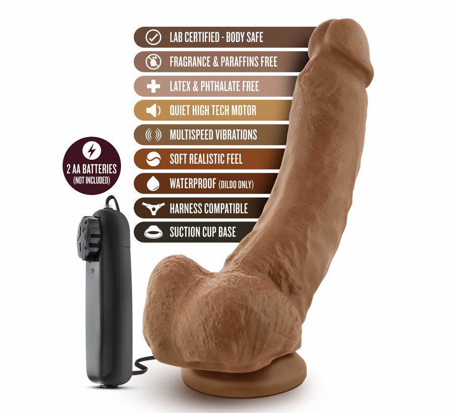 "Loverboy The Boxer 9"" Vibrating Realistic Cock Mocha"