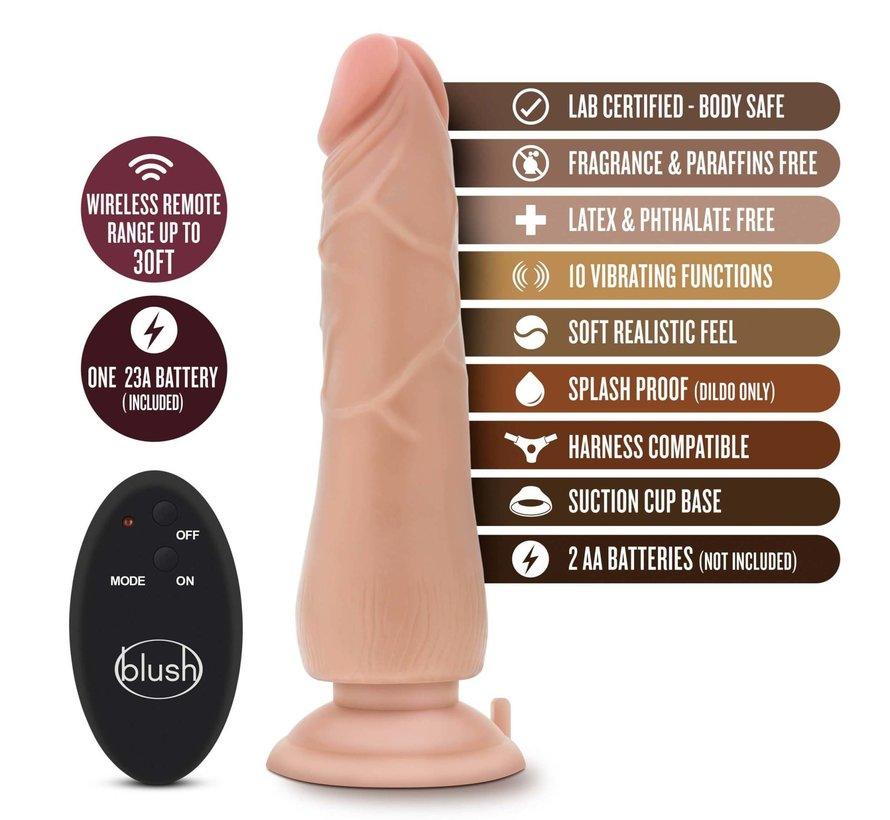 """Dr. Skin 9"""" 10 Function Wireless Remote Dildo Beige"""