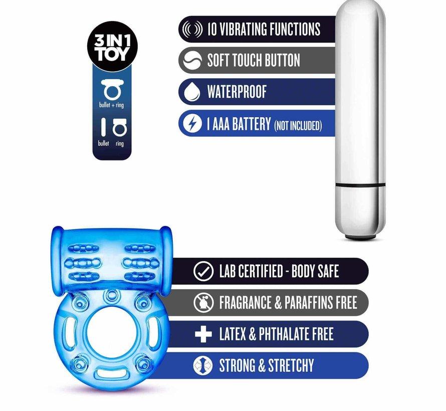 Stay Hard - 10 Function Vibrating Bull Ring - Blue