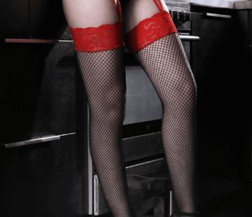 Sheer Fantasy I Dare You Lace Gartered Stockings O/S