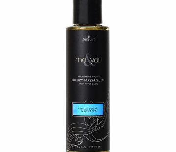Sensuva Me & You Vanilla, Sugar & Sweet Pea Massage Oil 4.2 oz.