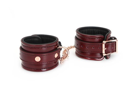 Liebe Seele Wine Red Leather Wrist Restraints W/Rose Gold Hardware