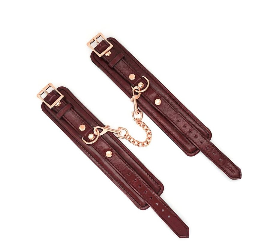 Wine Red Leather Wrist Restraints W/Rose Gold Hardware