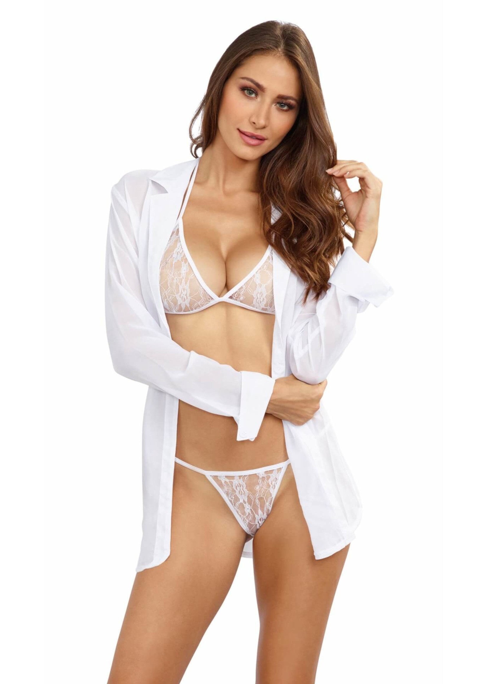 Dreamgirl Sheer Chiffon Robe Bra Panty Set